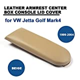 central console jetta - Leather Auto Console Central Armrest Lid for for VW Jetta Golf Mark4 1999-2004 TGFOF Box Cover (Beige)