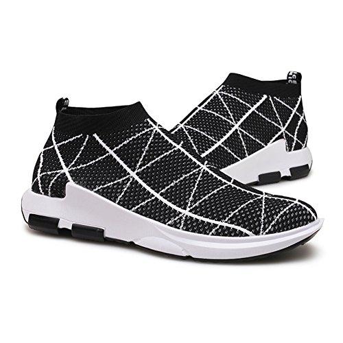KONHILL Herren leichte Casual Walking High Top Söckchen Schuhe Breathable Knit Sneaker 806 Schwarz