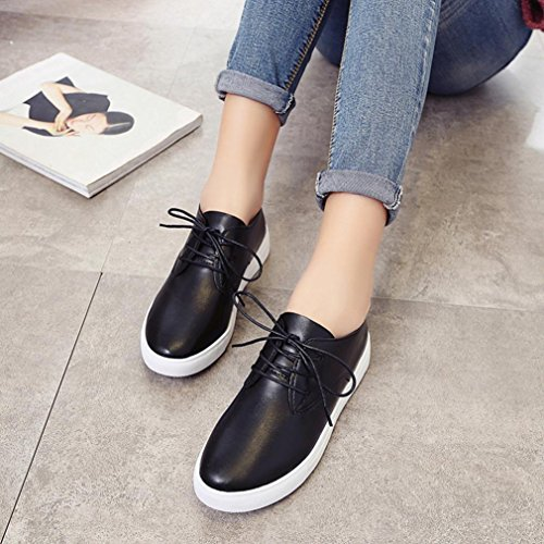 Fheaven Women Shoes Artificial Leather Casual Shoes Comfortable Soles Platform Shoes Lace up Loafers Black YRWhtyZZYC