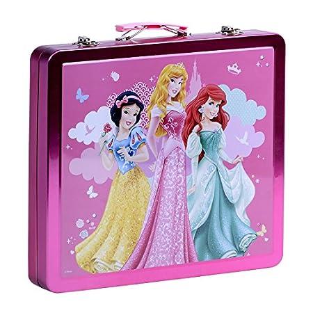 Set valigetta colori Disney Biancaneve, Aurora e Ariel - Colori e accessori per colorare e dipingere - valigetta in metallo