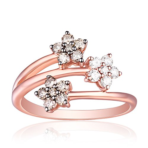 Brand New 0.55 Carat Natural Brown/SI1 & G-H/SI1 Diamond Designer Bypass Ring , 10k Rose Gold Size 8.5 by Prism Jewel
