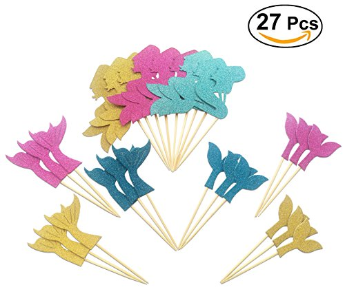 Price comparison product image 27pcs Glitter Mermaid Theme Cupcake Toppers Cake Decoration Baby Shower Birthday Party Favors,  Including Mermaid,  Fishtail