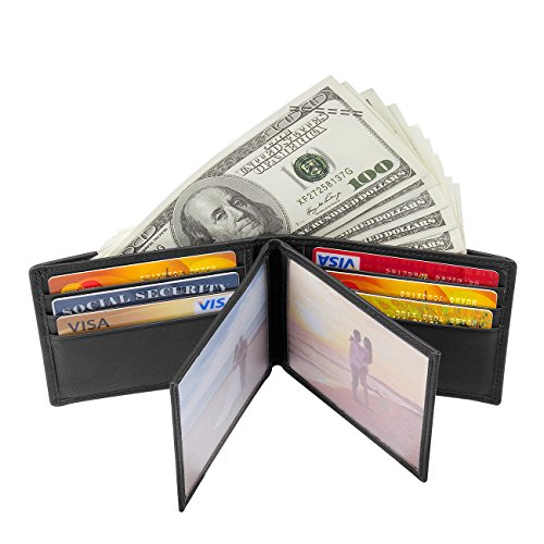 Augus Wallet for Man Bifold RFID Blocking Wallet Credit Card Holder (black)