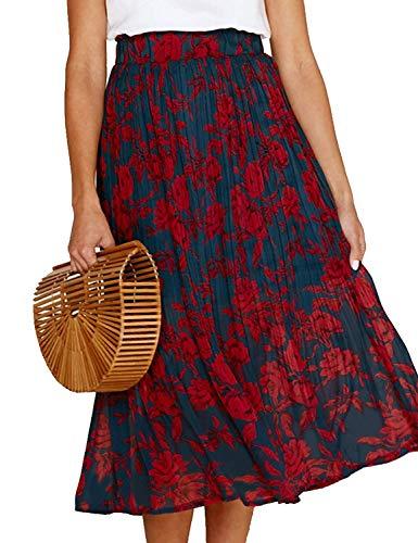 RichCoco Women's Casual High Elastic Waist A Line Print Pleated Pockets Vintage Dresses Polka Dot Midi Skirts (Navy Floral, XL)