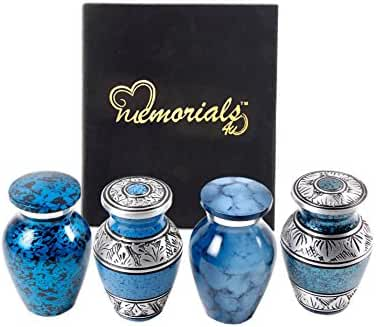 Set of 4 Beautiful Shades of Blue Keepsakes Urns - Keepsake Urn - Token Urns - Handcrafted and Affordable Mini Urns for Ashes
