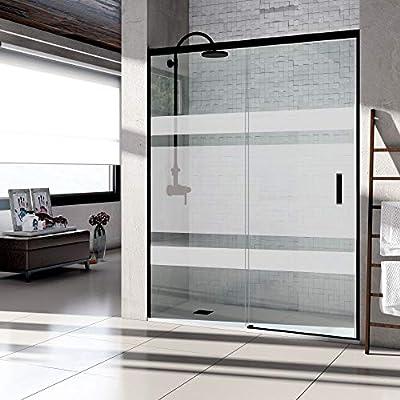 VAROBATH .Mampara de ducha con apertura frontal de puerta corredera, perfil NEGRO y cristal serigrafiado con 6 mm de grosor.Sin perfil inferior. (107 a 116 cm.): Amazon.es: Bricolaje y herramientas