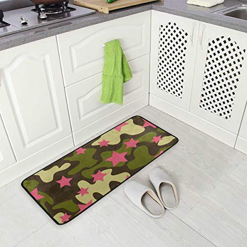 Jereee Green Camouflage Pink Stars Non-Slip Kitchen Mat Rectangle Polyester Doormat Floor Runner Rug Home Decor 39