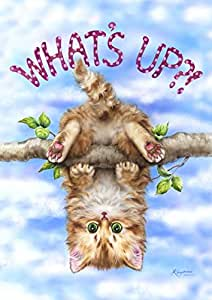 Toland Home Garden 1110807 What's Up-Decorative Cute Cat Kitty Swinging Play Fun Outdoor Summer Garden Flag