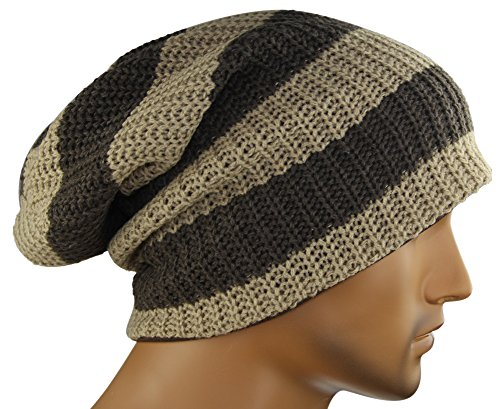 MINAKOLIFE Mens Striped Slouch Large Beanie Warm Skull Cap Hat Oversize ()