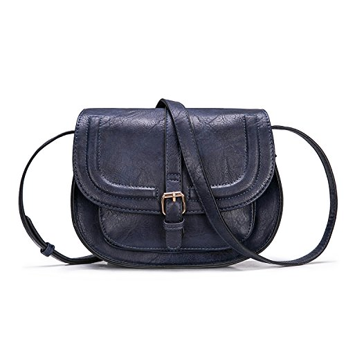 Small Purse Vintage Satchel for Women PU Leather Cover Hasp Crossbody Bag and Saddle Shoulder Bag with Long Adjustable - Satchel With Small Strap
