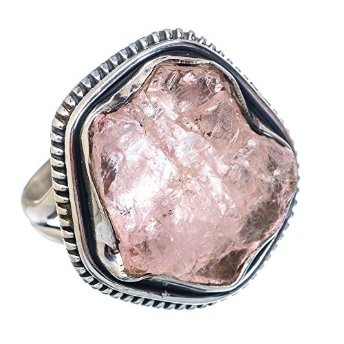 Rough Rose Quartz Ring Size 8 (925 Sterling Silver) - Handmade Boho Vintage Jewelry RING907677