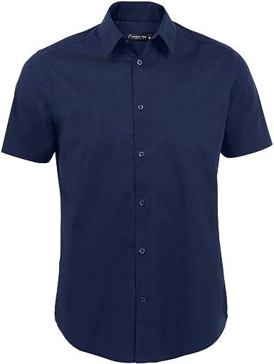 SOLS - Camisa Oxford de Manga Corta para Trabajar Modelo Brisbane Hombre Caballero - Trabajo/Fiesta/Verano
