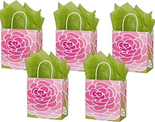 (5 Medium Gift Bags Nashville Wraps with Coordinating Tissue Paper (Rose Blossoms))