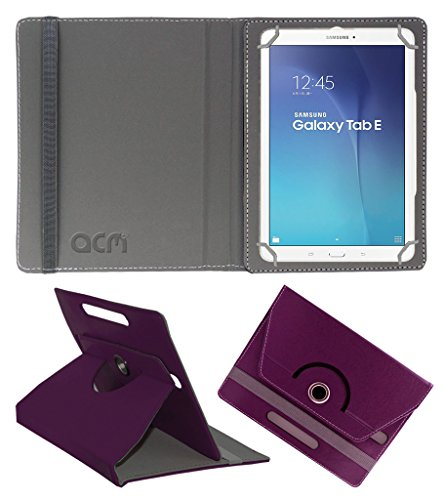 Acm Rotating 360 Leather Flip Case Compatible with Samsung Galaxy Tab E Sm T561 Tablet Cover Stand Purple