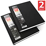 Arteza 8.5''x11'' Hardcover Sketch Journal, Hardbound Sketch Book Pad 2 Pack, 440 Pages Total (68lb/110gsm)