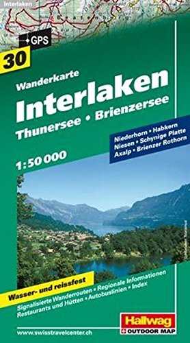 Interlaken, Thuner- & Brienzersee (Wanderkarte)