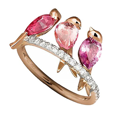(Gbell Women Fashion Fine 3 Birds Inlaid Ruby Rings Statement - Beautiful Jewelry Electroplated Rose Gold Animal Anniversary Rings for Women Ladies Girls Jewelry Gifts, Size 6-10 )