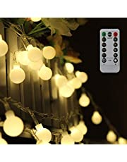 Tomshine Globe String Lights 0.6W 10M 80LEDs Fairy Lights 8 Modes Waterproof Battery Powered with Remote Control for Party Living Room Bedroom Patio Garden