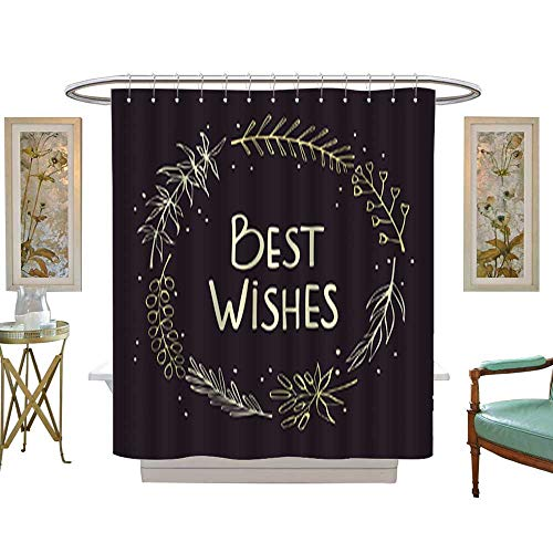 Iuvolux Polyester Fabric Bathroomhand Drawn and Handwritten Floral Twigs Branches Wreath Greeting Card Background. Shower Curtain Set with Hooks W72 x H78 Inch