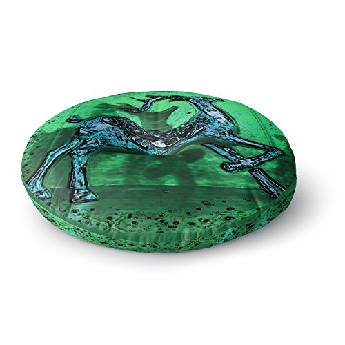KESS InHouse Anne Labrie Dance on Green Blue Round Floor Pillow, 26'' by Kess InHouse