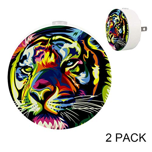 [2Pack] Plug in LED Night Lights for Kids, Auto Dusk to Dawn Sensor,Warm White Lights with Color Lion for Indoor Bedrooms, Best Gift for Baby, Girls, Boys