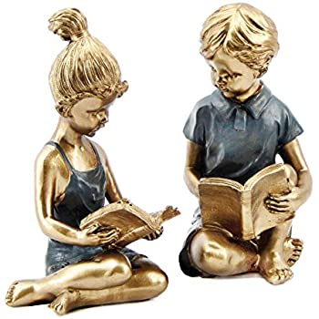 Bellaa 22951 Boy Girl Bookends Studious Reading Book End 8 inch
