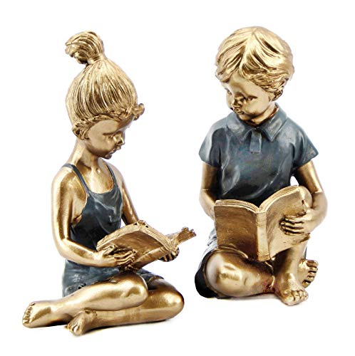 Bellaa 22951 Boy Girl Bookends Studious Reading Book End 8 - Childrens Bookends