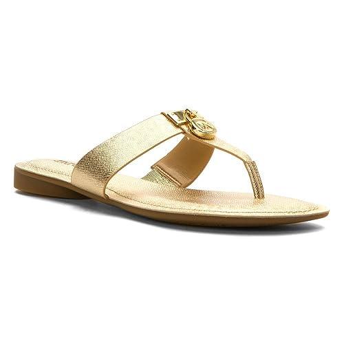 eac612b6b2a6 Michael Michael Kors Hamilton Flat Women US 5.5 Gold Thong Sandal
