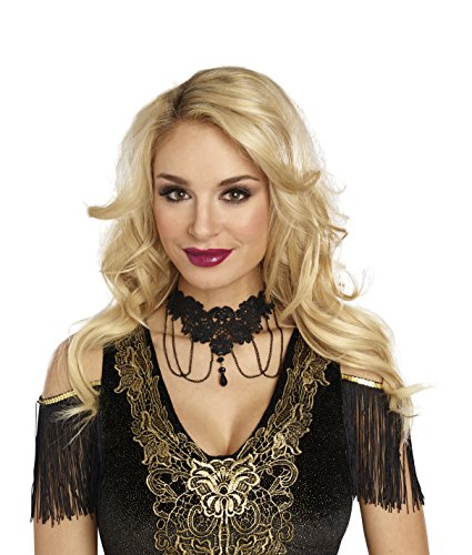 Dreamgirl Women's Venice Lace Beaded Choker, Black, O/S