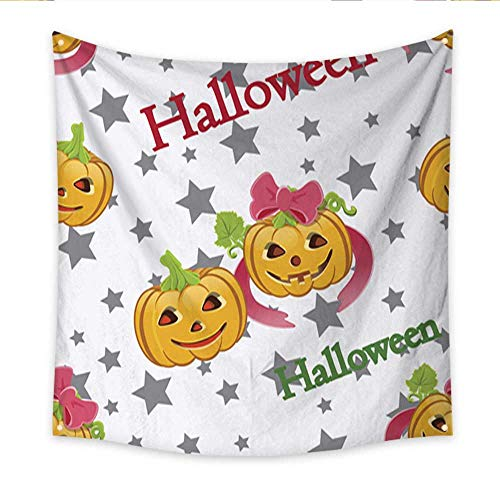 Anniutwo Beach Wall Tapestry Background of Pumpkins and Halloween Words Large tablecloths Wall Tapestry 70W x 70L -