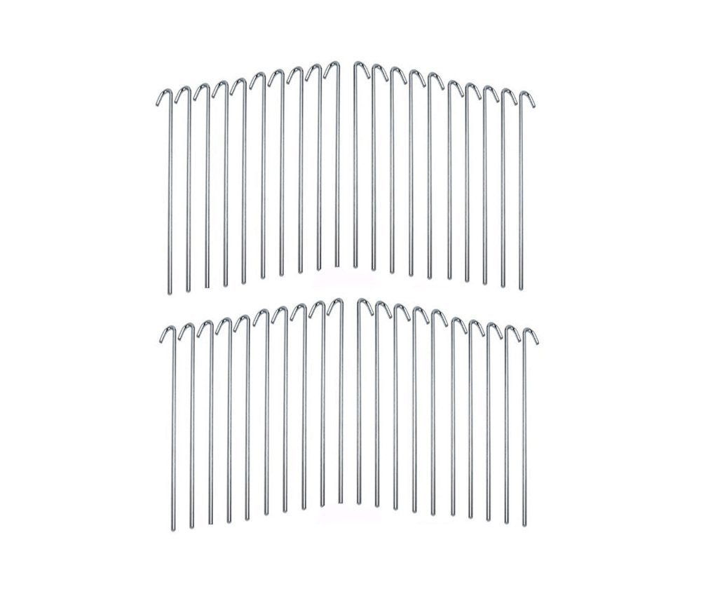 Set of 40 Piece Galvanized Steel Tent Pegs – 9 Inches Length Garden Stakes