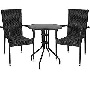 3piezas. Mobiliario de jardín Bistro Mesa ø60x 71cm con tablero de cristal Polirratán silla apilable Negro