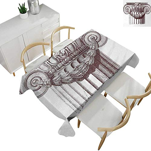 Ancient,Decor Collection Table Cloths Classical Antique Column Roman Empire Architecture Heritage Culture Print Table Cloth Cover Wedding Event Party Burgundy and White 70