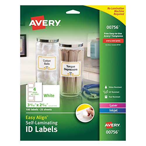 Avery 00756 Easy Align Self-Laminating ID Labels, Laser/Inkjet, 2 15/16 x 3 5/16, White (Pack of 100)