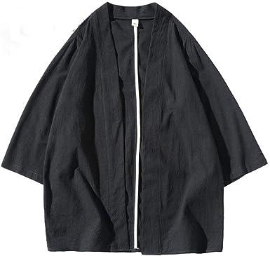 LYH Kimono Traje Japonés Hombres Abrigo Estilo Harajuku Tops ...