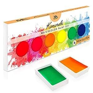 MozArt Supplies Paleta de pintura de acuarela con 6