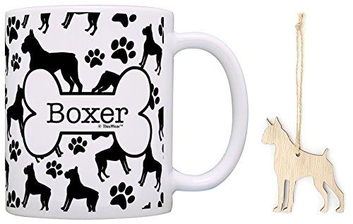 Boxer Christmas Ornament & Boxer Coffee Mug Tea Cup Bundle Dog Lover Stocking Stuffer