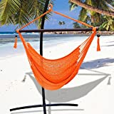 Strong Camel Hanging Caribbean Polyester Hammock Chair 48 Inch (orange) --