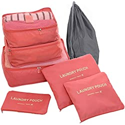 Hopsooken Travel Organizer Luggage Compression Pouches, Watermelon Red (7-Piece Set)