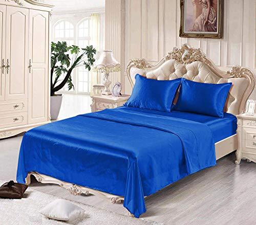 Fresh Linen Ultra Soft Silky Satin Bed Sheet Set with Pillowcase, Cal King, Navy