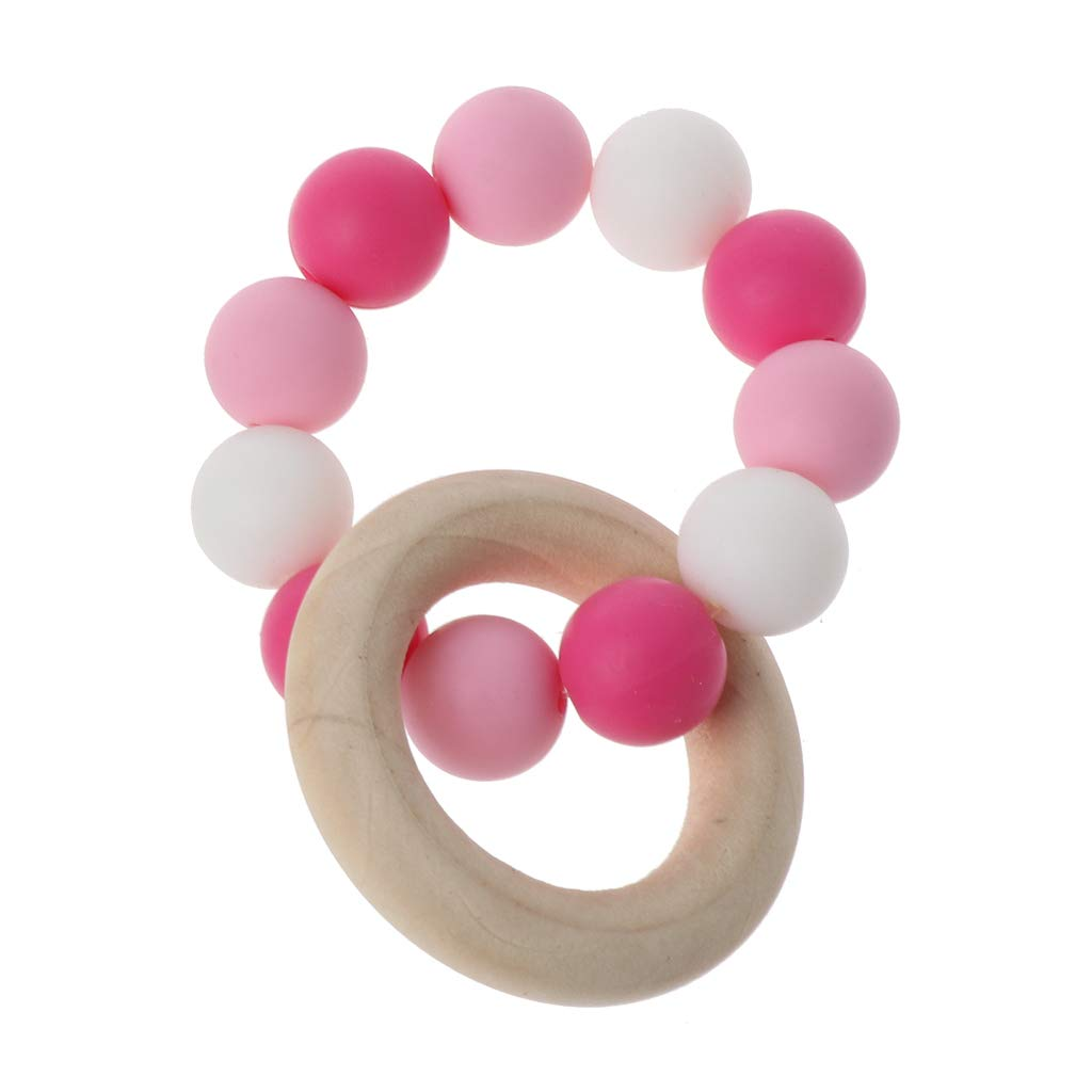 Jiamins Baby Nursing Bracelets Wooden Teether Silicone Chew Beads Teething Rattles Toys Teether Montessori Bracelets A