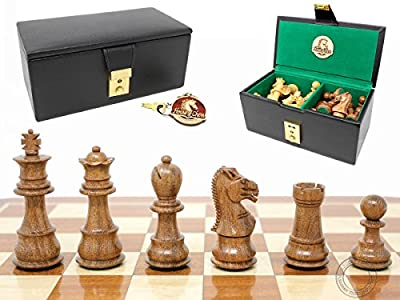 "House of Chess - Ringy Rosewood (Acacia Rhodoxylon) / Boxwood Galaxy Staunton Wooden Chess Set Pieces - King Height: 3"" (76 mm) - Triple Weighted with Leatherette Chess Storage box"