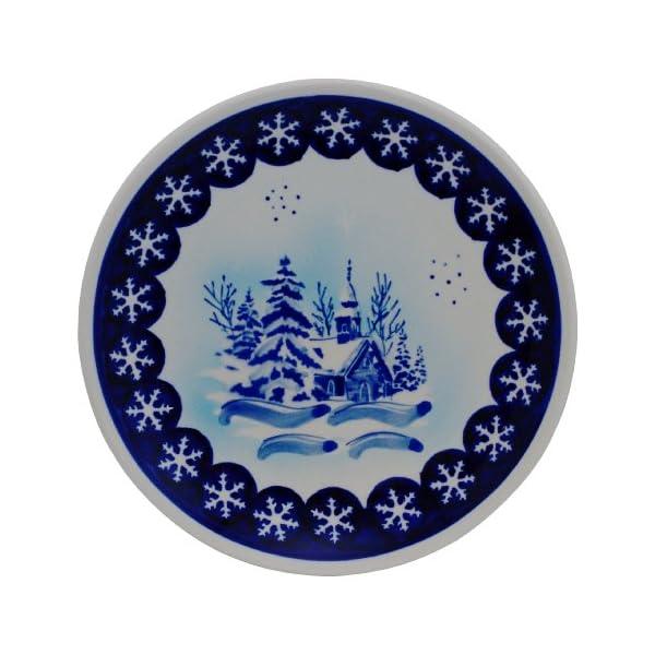 Boleslawiec Pottery Flat Breakfast plate, Original Bunzlauer Keramik, winter landscape, Decor DU11
