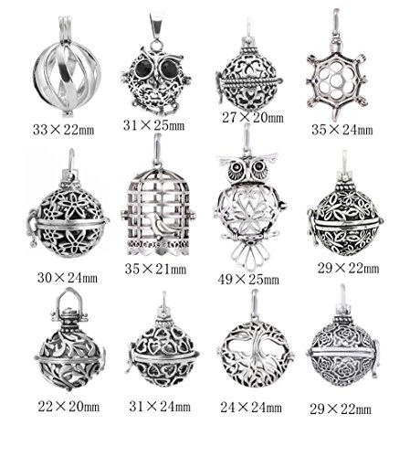 Yaoding 12pcs Mix Hollow Bird Cage Owl Tree Tortoise Ball Locket Lava Stone Perfume Fragrance Essential Oil Aromatherapy Diffuser Pendant Necklace by Yaoding (Image #1)