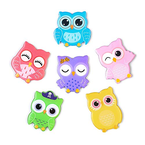Morcart Refrigerator Magnets Cartoon Cute Owl Magnets (6pcs) 3D Pattern for Kitchen Kids Toys Students Lockers Whiteboards Office Menu Message Boards