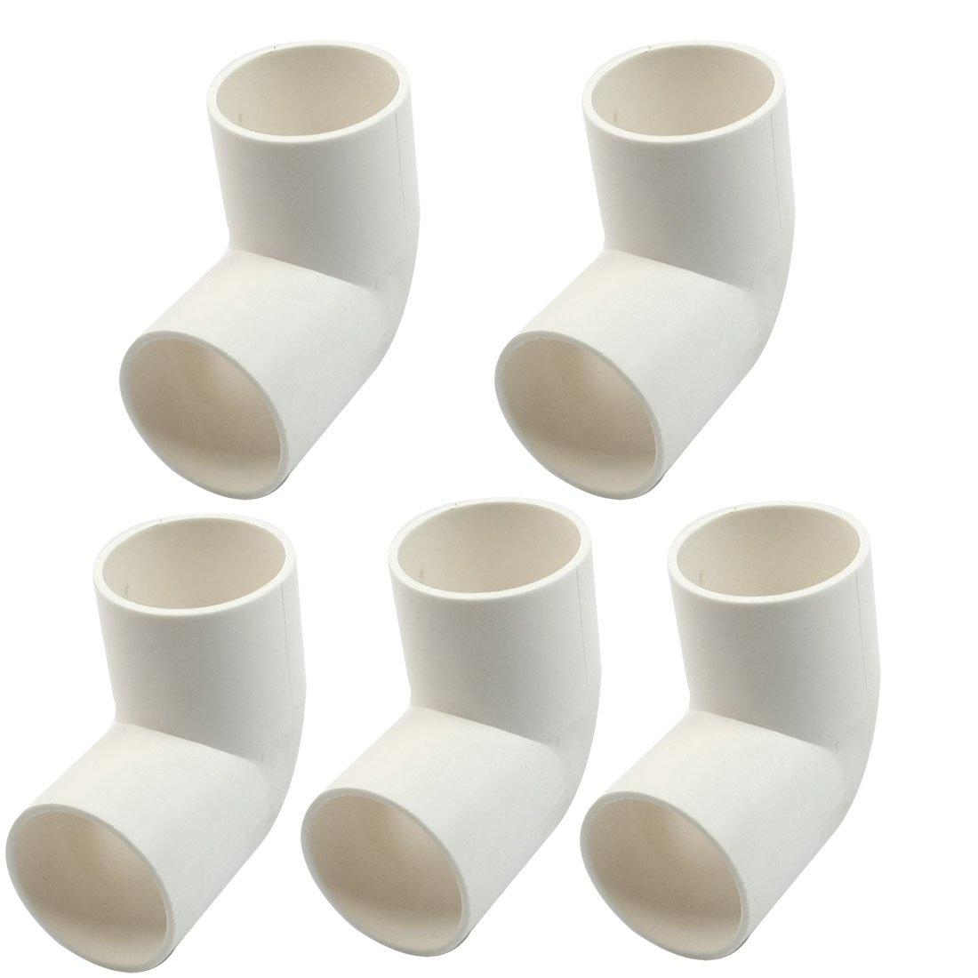 Sourcingmap a13062400ux0963-5 piezas de 32 mm de di/ámetro interior uniones de tubo de pvc codo de 90 grados blancas