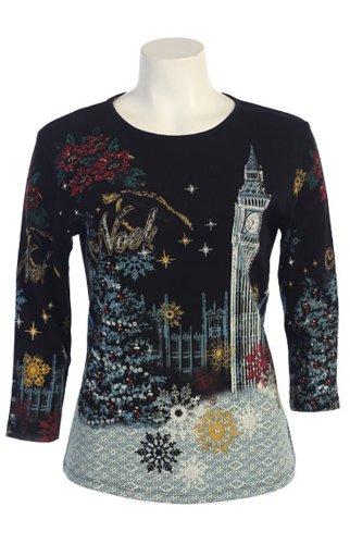 "Jess N Jane Women's ""Big Ben's Noel"" Dressy Rhinestone T Shirt"
