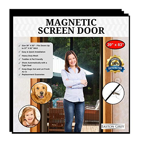 - Easton Grey Magnetic Screen Door Bug Screens: Door Screen with Strong Magnets, Reinforced Heavy Duty Mesh Curtains - Keeps Out Insects - Kid & Pet Friendly - Fits Doors Up to 37