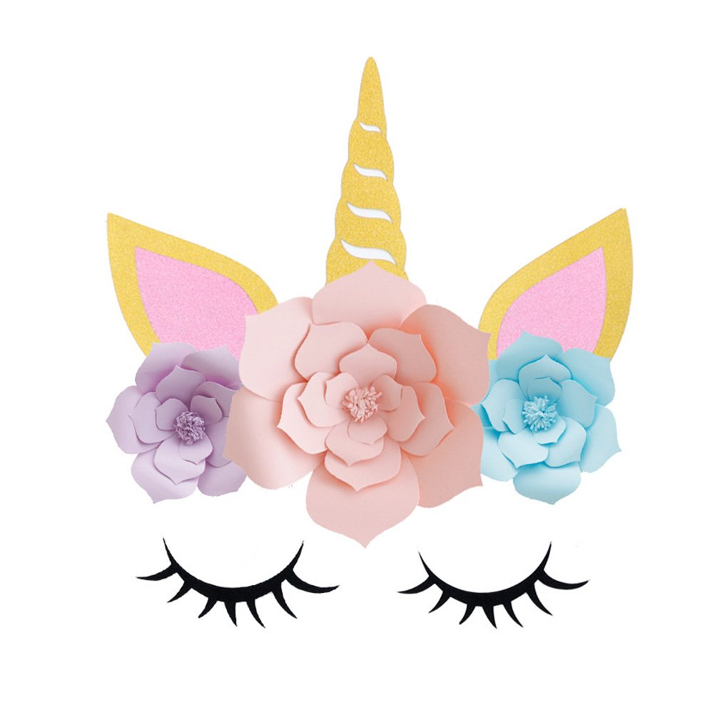 BESTOYARD Partido unicornio decoraciones telón de fondo 3D oro Unicornio flor telón de fondo con grandes orejas de cuerno pestañas flor cara bricolaje Fiesta de cumpleaños apoyos para fiesta de cumpleaños compromiso decoraciones de la boda