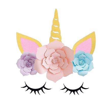 Unicornio decoraciones 3D con cuerno de unicornio de oro como telón de fondo las orejas pestañas cara Flor DIY accesorios para las decoraciones de la ...